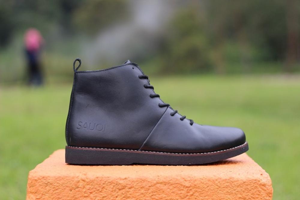 Promo Sepatu Pria Sauqi Brodo Black Kulit Asli Hand Made Original # Sepatu Boots Tracking Touring Hiking Kerja Termurah Berkualitas Terbaik # Gratis 1pasang Kaos Kaki #5 Fashion
