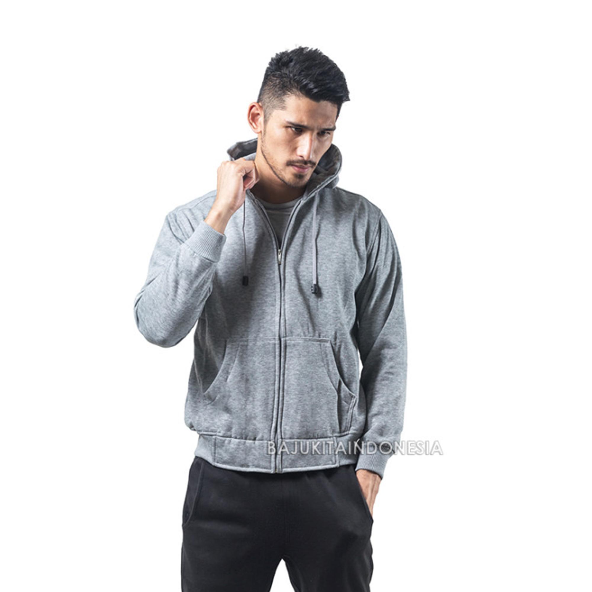 Bajukitaindonesia Jaket Hoodie Zipper Polos ABU MUDA - Pria dan Wanita