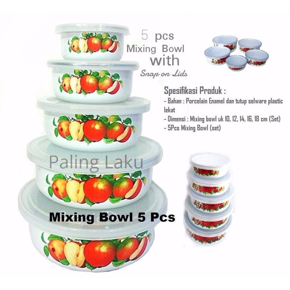 Paling Laku Mixing Bowl/ Fresh Box 5 Pcs Enamel  + Tutup Transparant Kedap Udara Maspion Panda