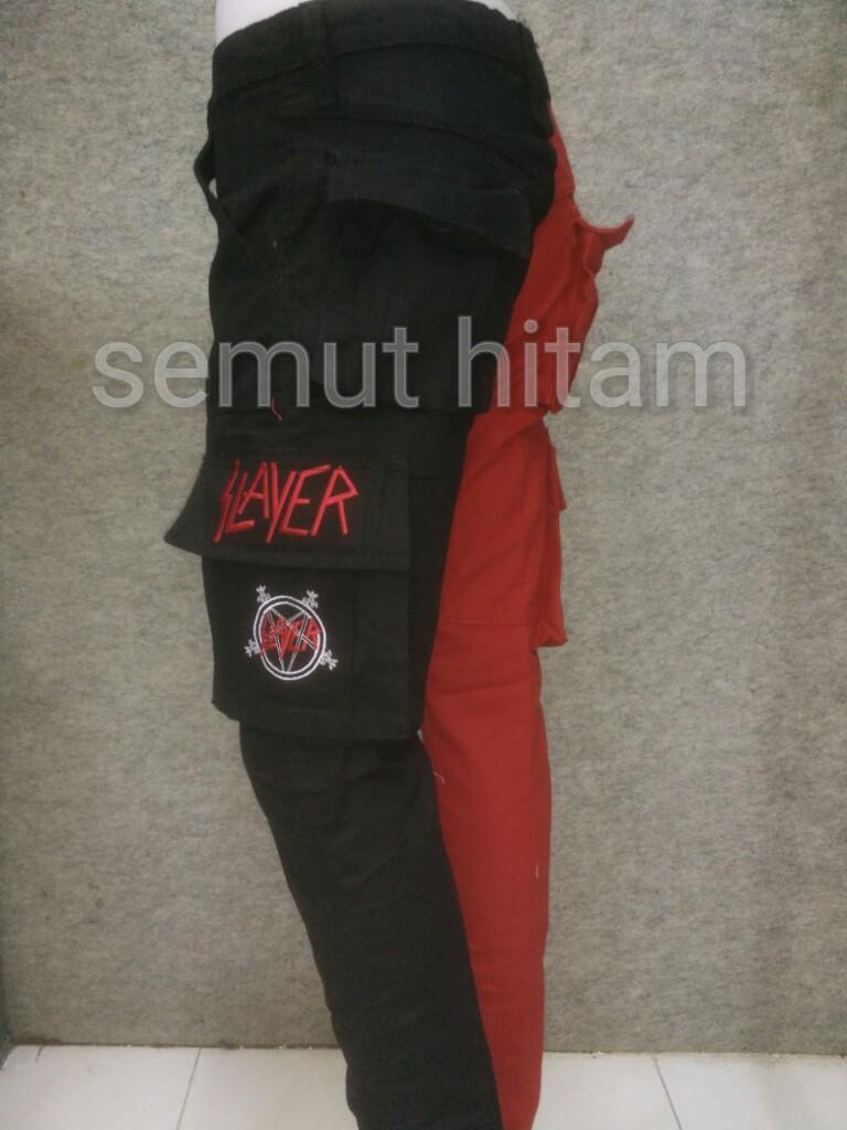 Celana Panjang Cargo Alpine / Alpin / Alvin / Punk / Hitam Merah Prapatan Rebel
