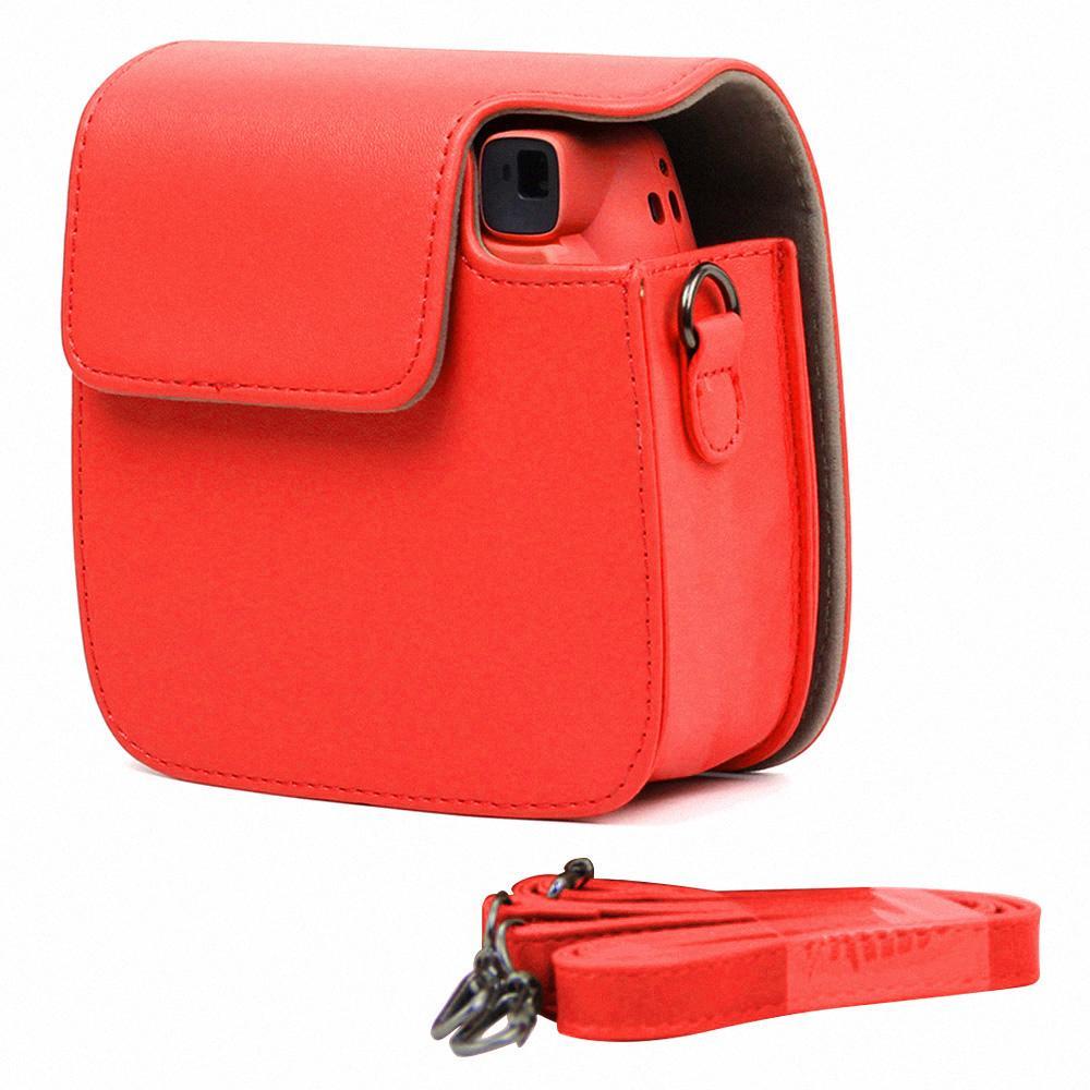 Portable Pelindung Case Penutup Aksesori PU Penyimpanan Kulit Tas dengan Tali Bahu Dapat Dilepas untuk Fujifilm Instax Mini 9 Instan Kamera Pink
