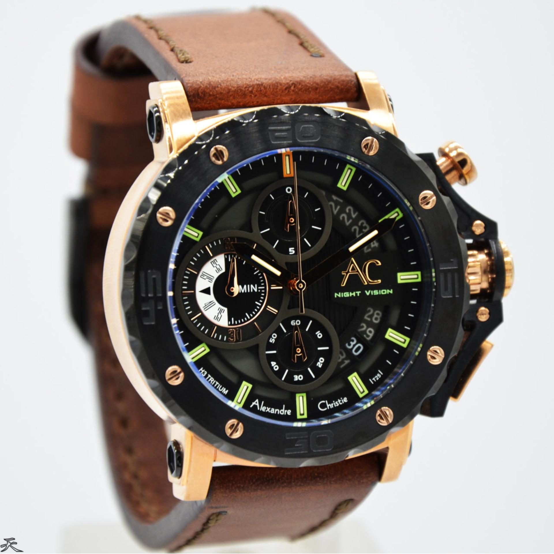 Alexandre Christie night vision glow in the dark Original chronograph AC9201M Jam Tangan Pria