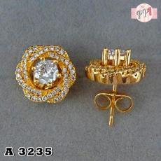 Anting Korea Wanita Tusuk Bunga Permata Gold A 3235