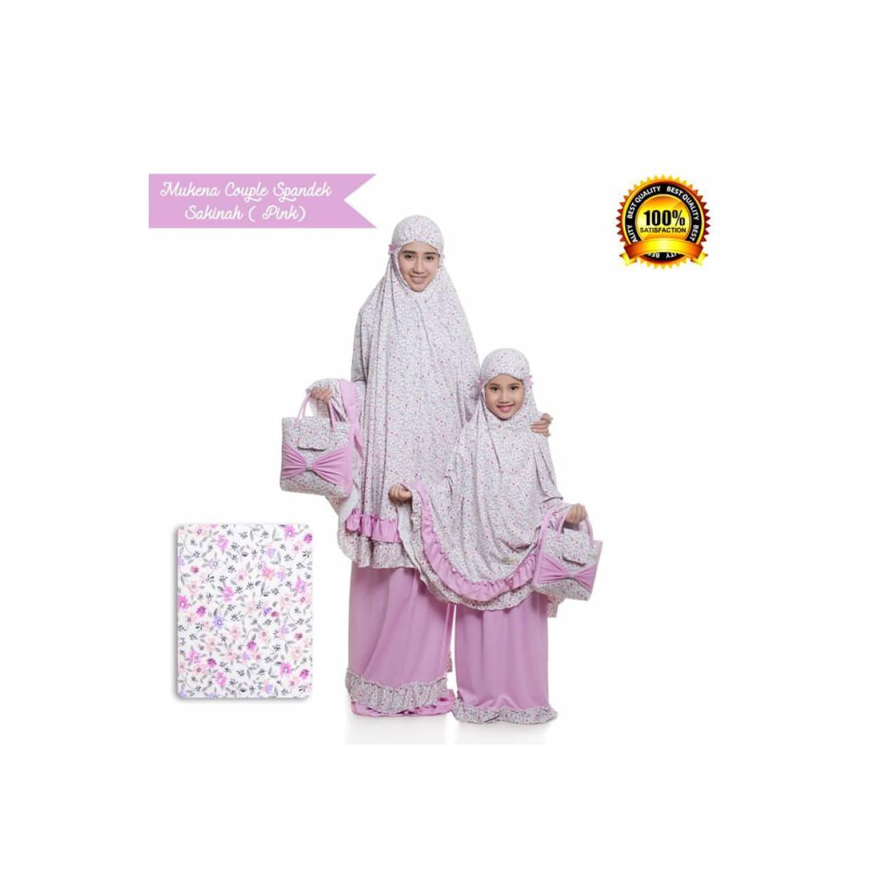 Mukena Couple Ibu dan Anak PINK Bahan Spandek Sakinah 100% Original - Fuchsia