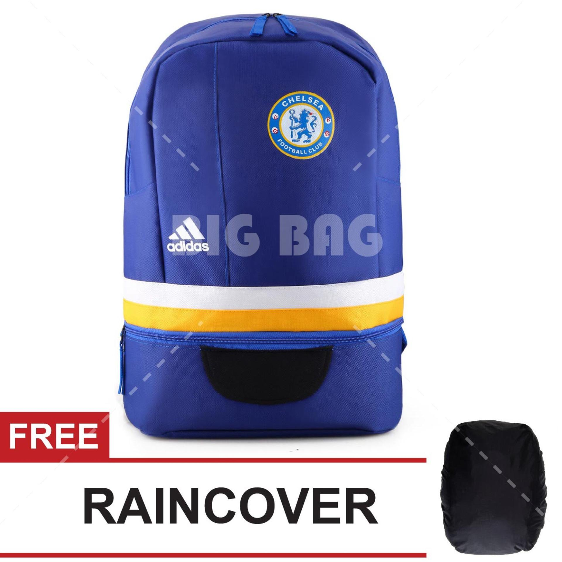 Tas Ransel Adidas Bola Pria Chelsea FC Laptop Backpack Men Soccer Editions - Blue + FREE Raincover