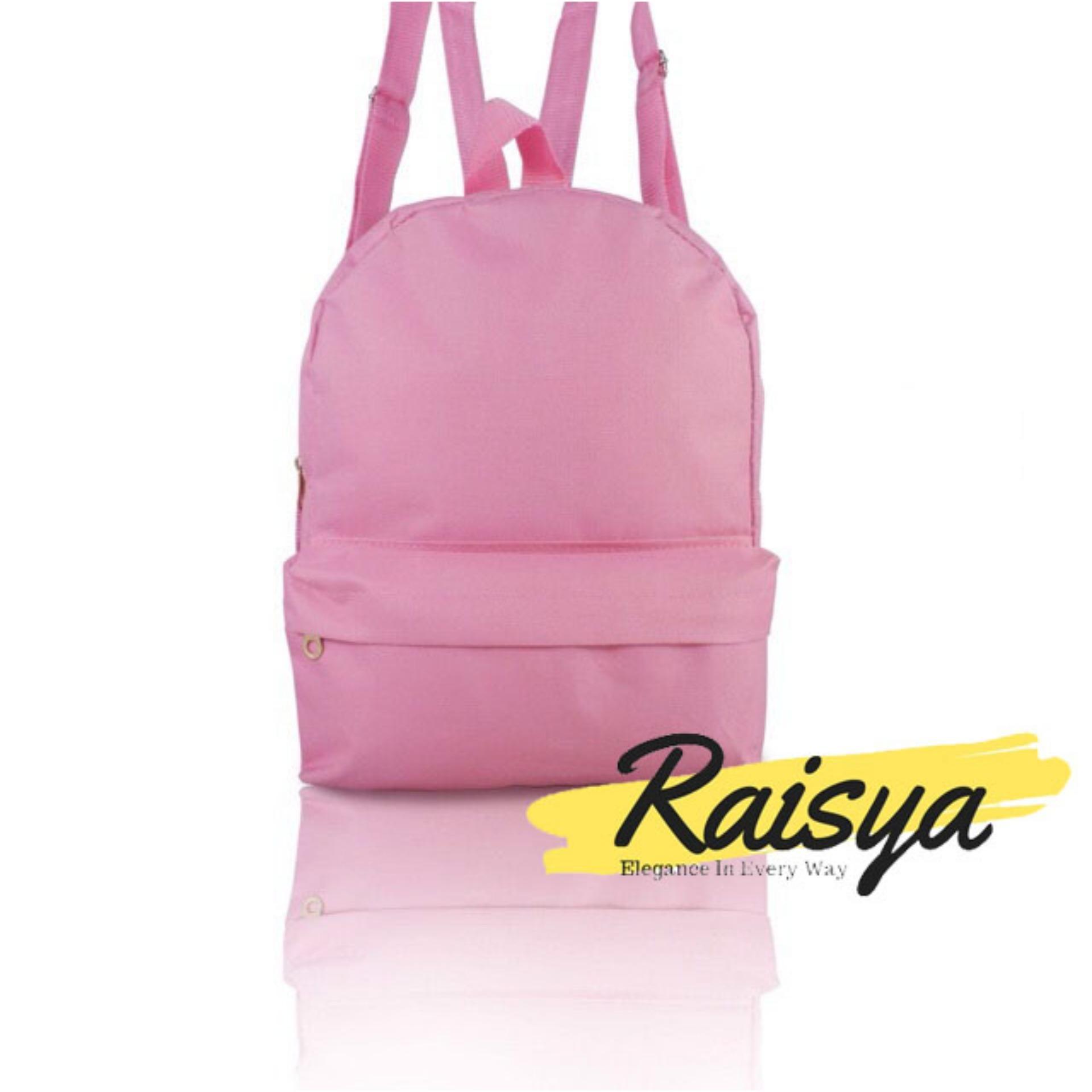 Raisya Tas Fashion Ransel Mini Canvas Polos - Pink