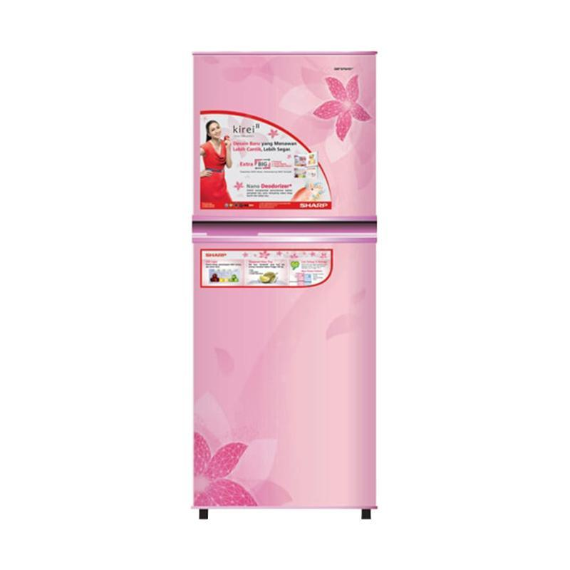 SHARP SJ-236ND-FP Kirei II Refrigerator Kulkas - Flower Pink [2 Pintu/187 L]