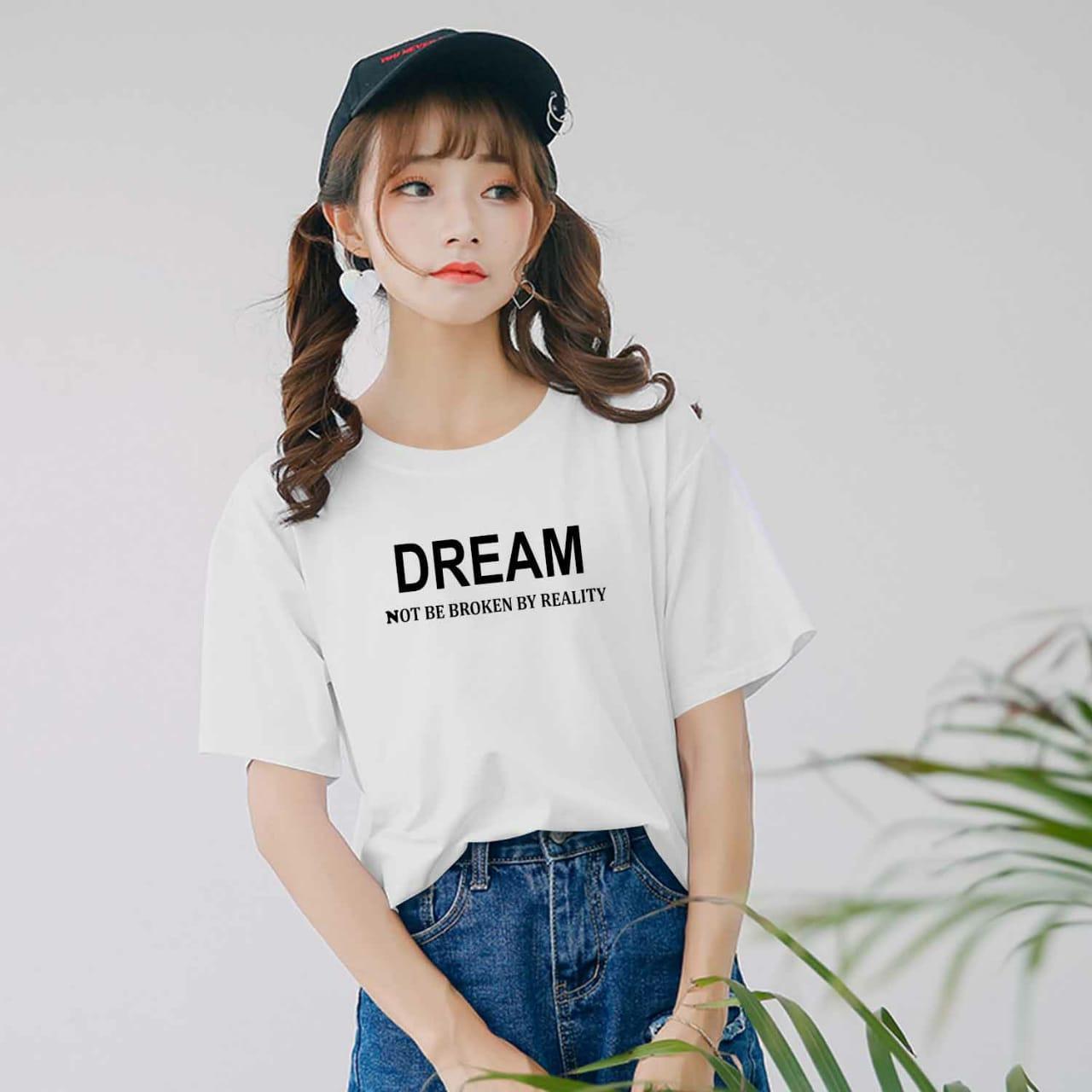 XV Kaos Wanita tee DREAM   T-shirt Distro Wanita   Baju Atasan Kaos Cewek    Tumblr Tee Cewek   Kaos Wanita Murah   Baju Wanita Murah   Kaos Lengan  Pendek ... 6b343d7ef8