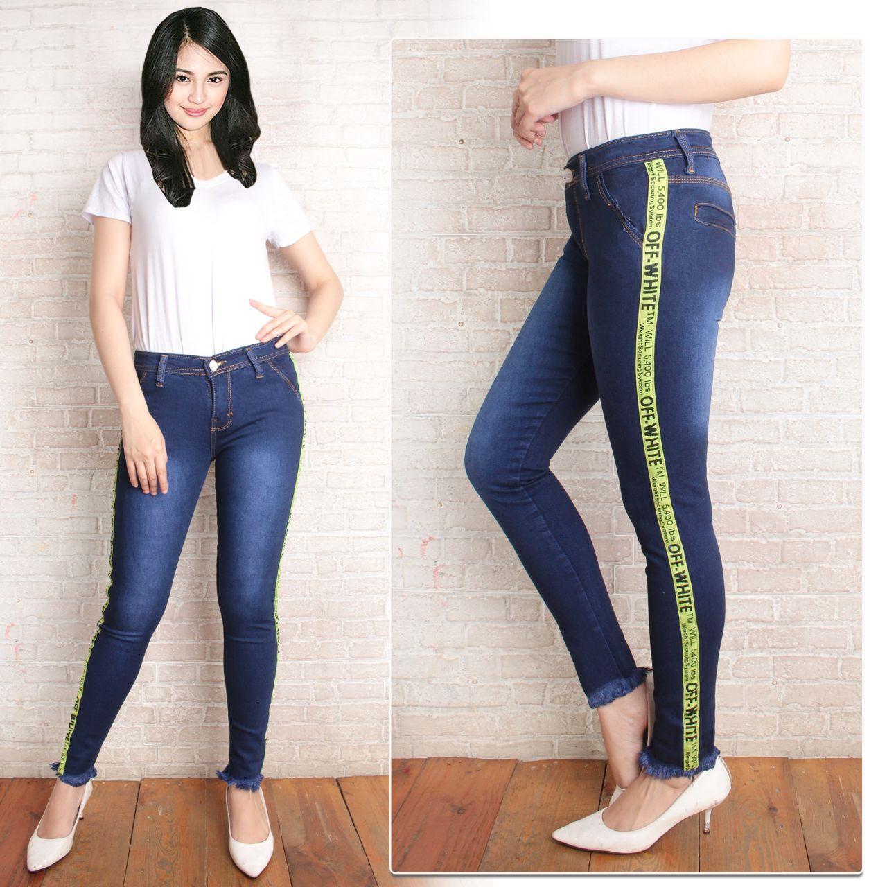 celana jeans wanita PR OFF WHITE rawis terbaru premium