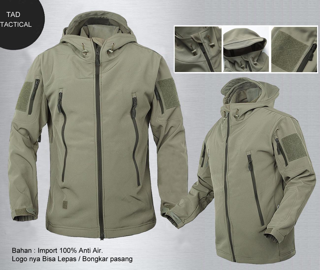 Jaket Bravo Tactical Tad Bahan Import Tersedia Dua Warna Water Proof, Tahan Angin dan Air, Logo Bisa Lepas Pasang, Cocok Bagi yang Suka Jaket Ala-ala Militer