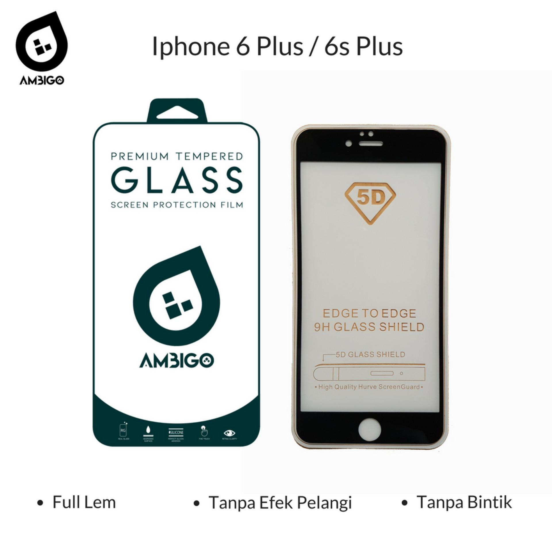 Accessories Hp Ambigo Tempered Glass 5D Full Cover Warna / Anti Gores Kaca Full Lem Untuk Iphone 6 Plus / 6s Plus - Black