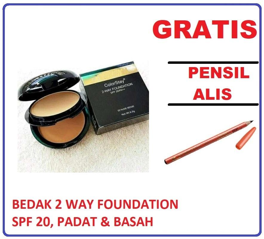 Mesh Bedak Colorstay 2-Way Foundation Spf 20 Bedak Padat Dan Basah 2in1 + GRATIS Masker, Make Up, Lip tint – 1 Pcs