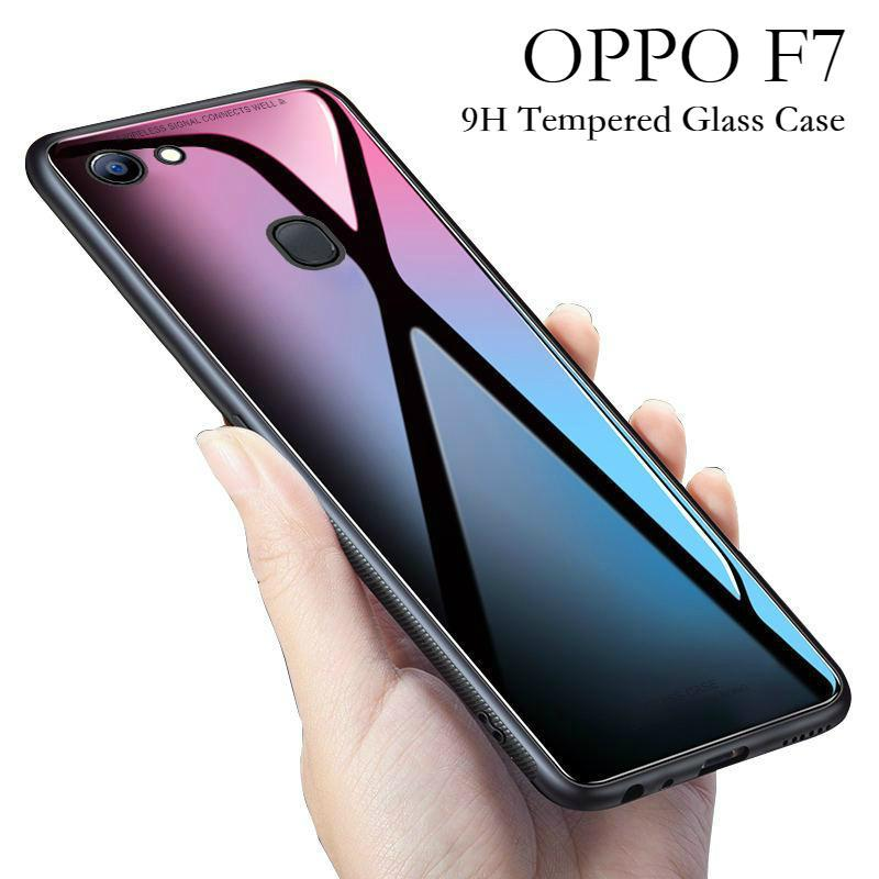 OPPO F7 Glass Case Full Protection Clear Tempered Glass Back Cover Casing for Oppo F7 Case Housing