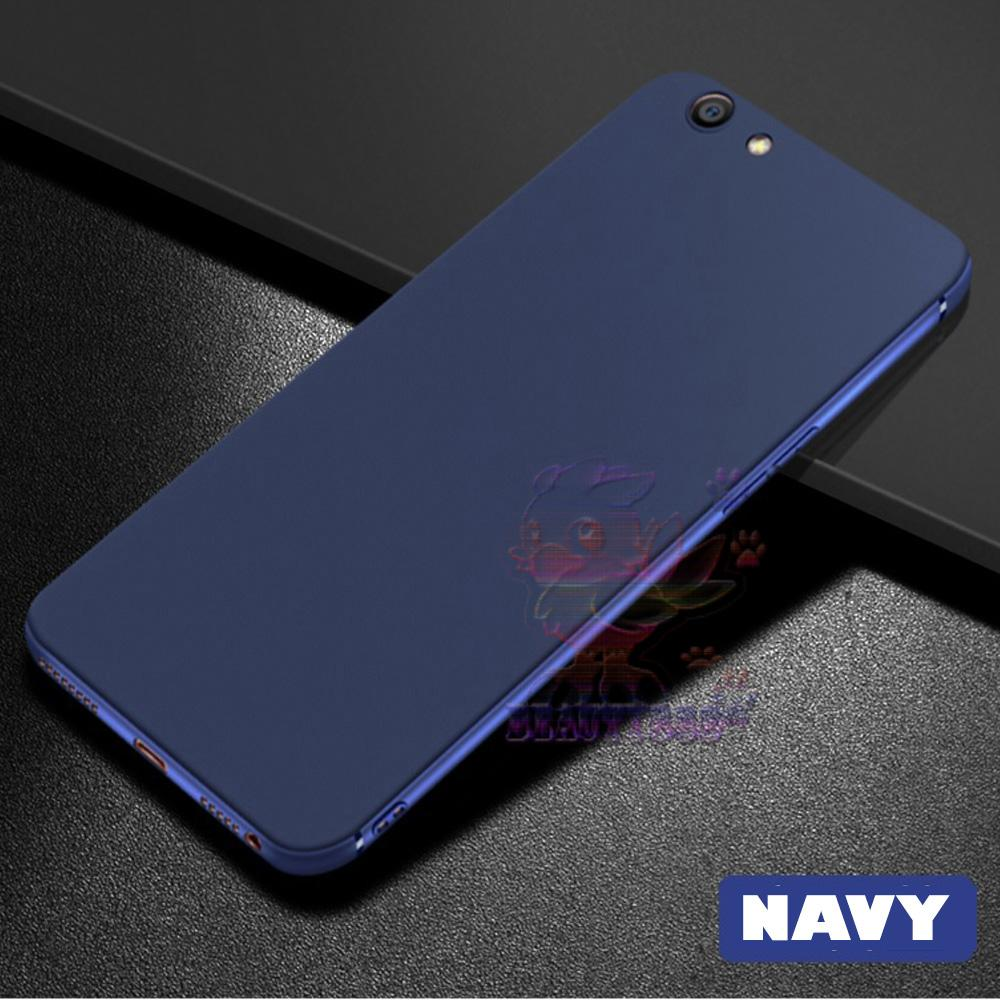 Lize Case Oppo A83 Rubber Silicone Anti Glare Skin Back Case / Silikon Oppo A83 / Jelly Case / Ultrathin / Soft Case Slim Blue Matte Oppo A83 / Casing Hp / Baby Skin Case - Navy / Biru Tua
