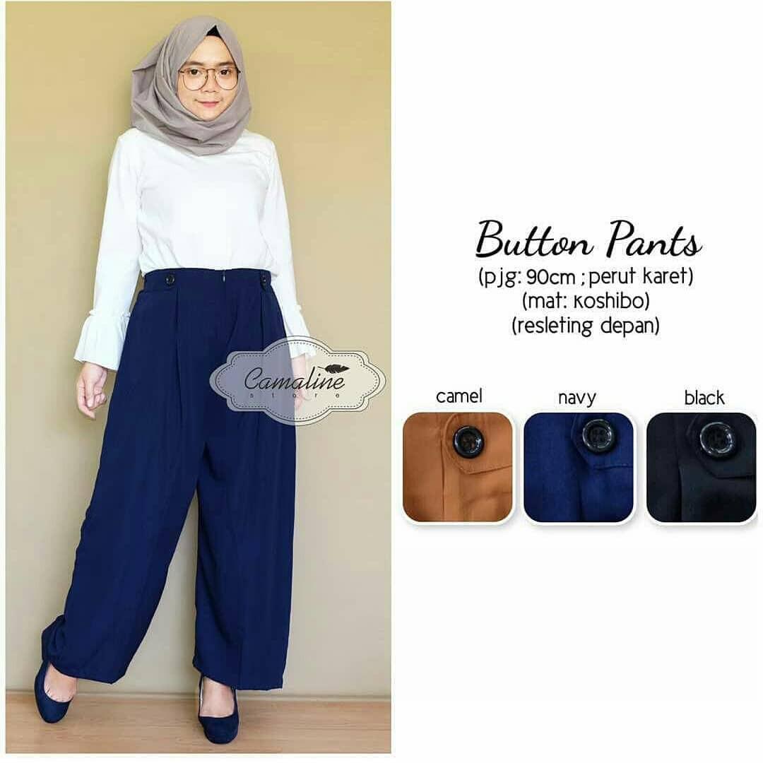 OEM Baju Original Button Pants Wolfice Celana Panjang Cewek Kulot Wanita Muslim Joger Muslimah Murah Simple Trend 2018
