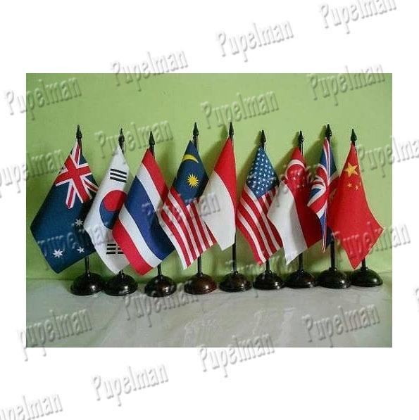 1pcs - Pajangan Meja Bendera Negara Tiang Kayu Pajangan Hiasan Meja Kantor Sekolah Rumah Belajar Dekorasi Meja Bendera Australia Korea Selatan Thailand Malaysia Indonesia Amerika Singapur Inggris Turki