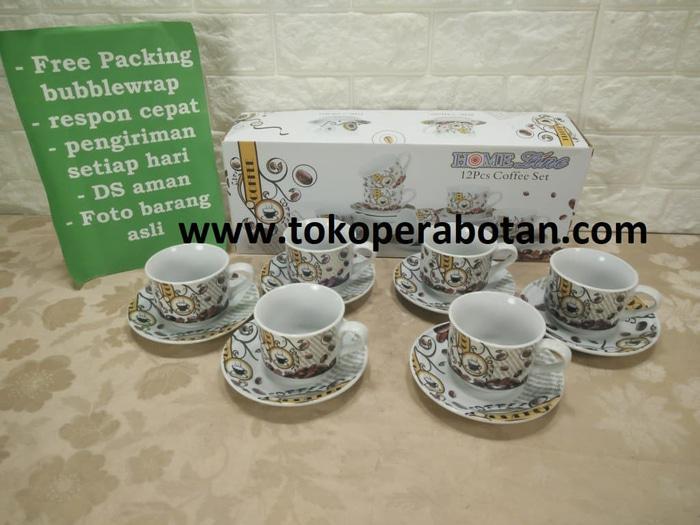 BEST SELLER!!! (packing kayu) Coffee set / Cangkir set Homeline Motif Kopi - Kopi - ieALMd