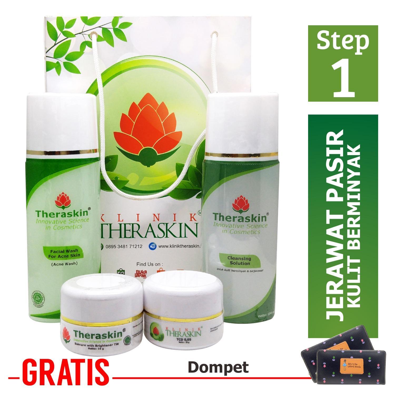 Cream Theraskin Paket Acne Parah - Jerawat Beruntus Besar / Jerawat Pasir Untuk Kulit Berminyak + Dompet
