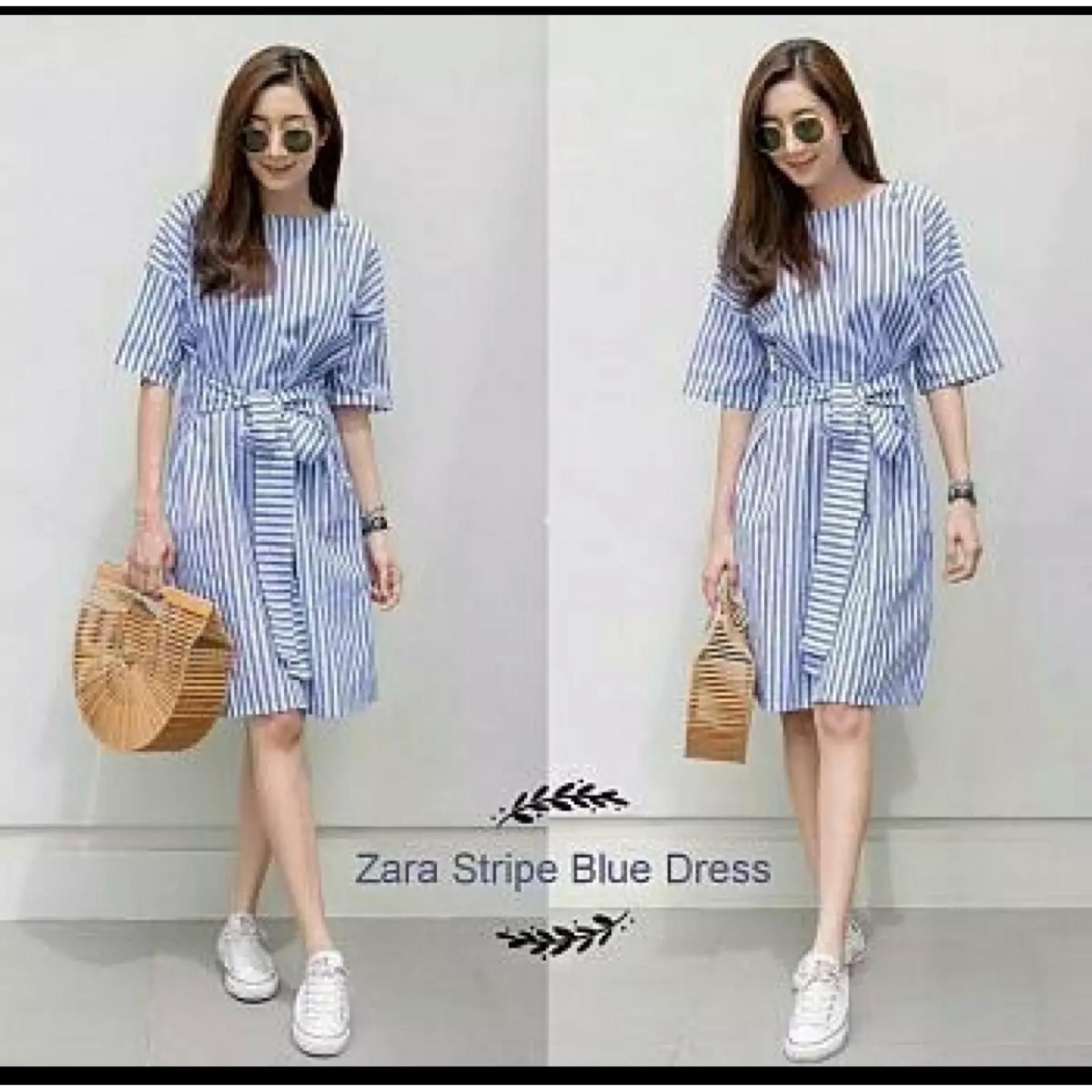 Dress Zara Stripe Biru