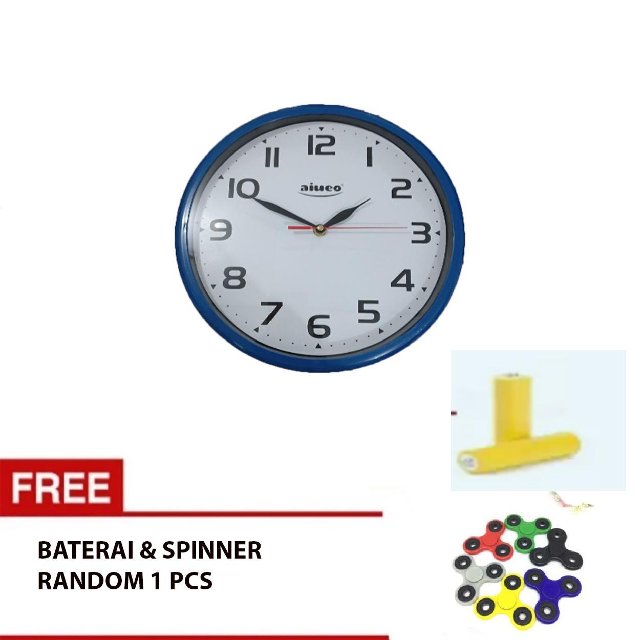 Aiueo Jam Dinding Elegant Angka Tebal ( wall clock ) Free Battery dan Spinner Random