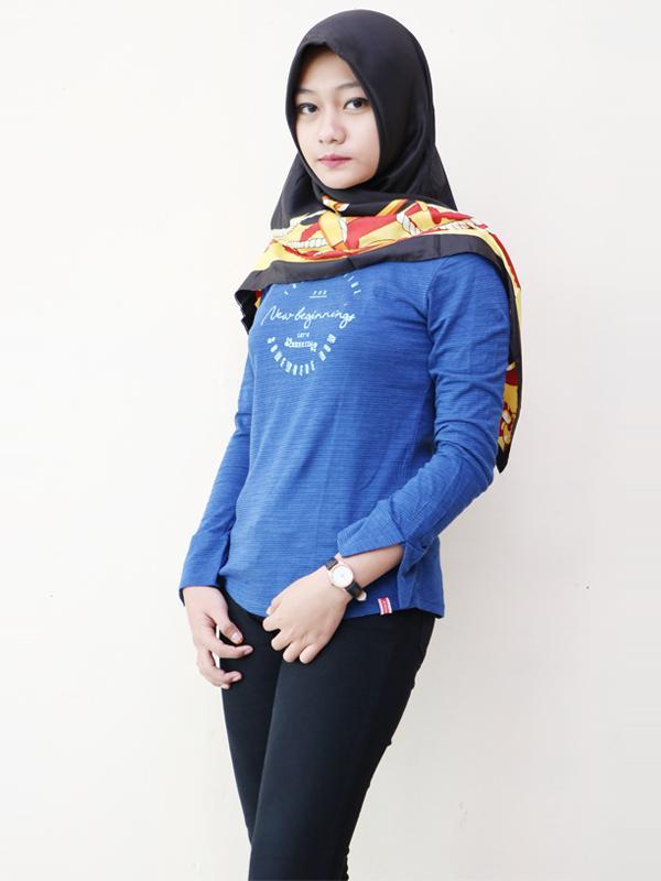 Baju Pakaian Blouse Kaos Cewek Wanita Casual Cressida Warna Biru