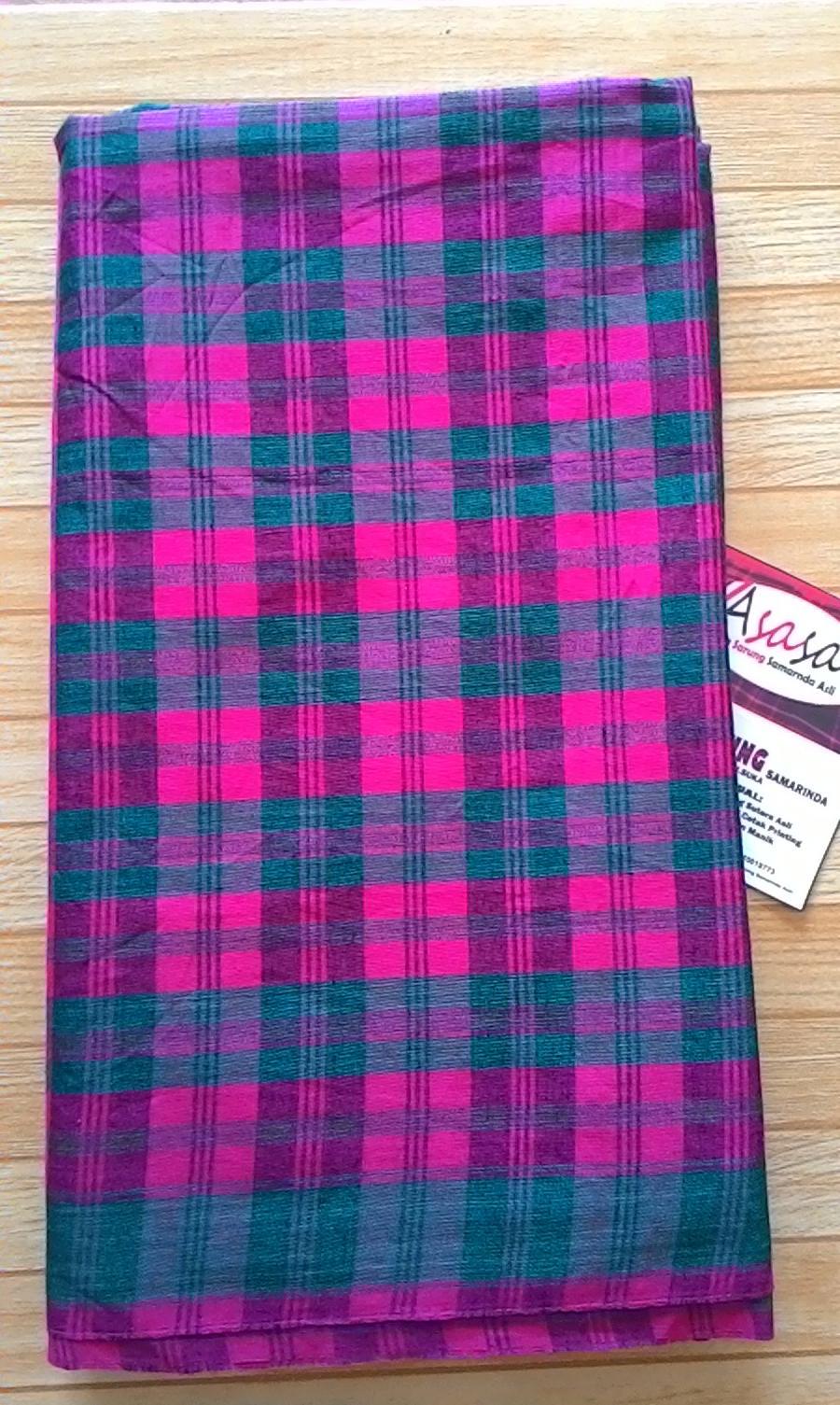 Sarung Tenun Samarinda (Motif Soeharto) kombinasi pink + hijau
