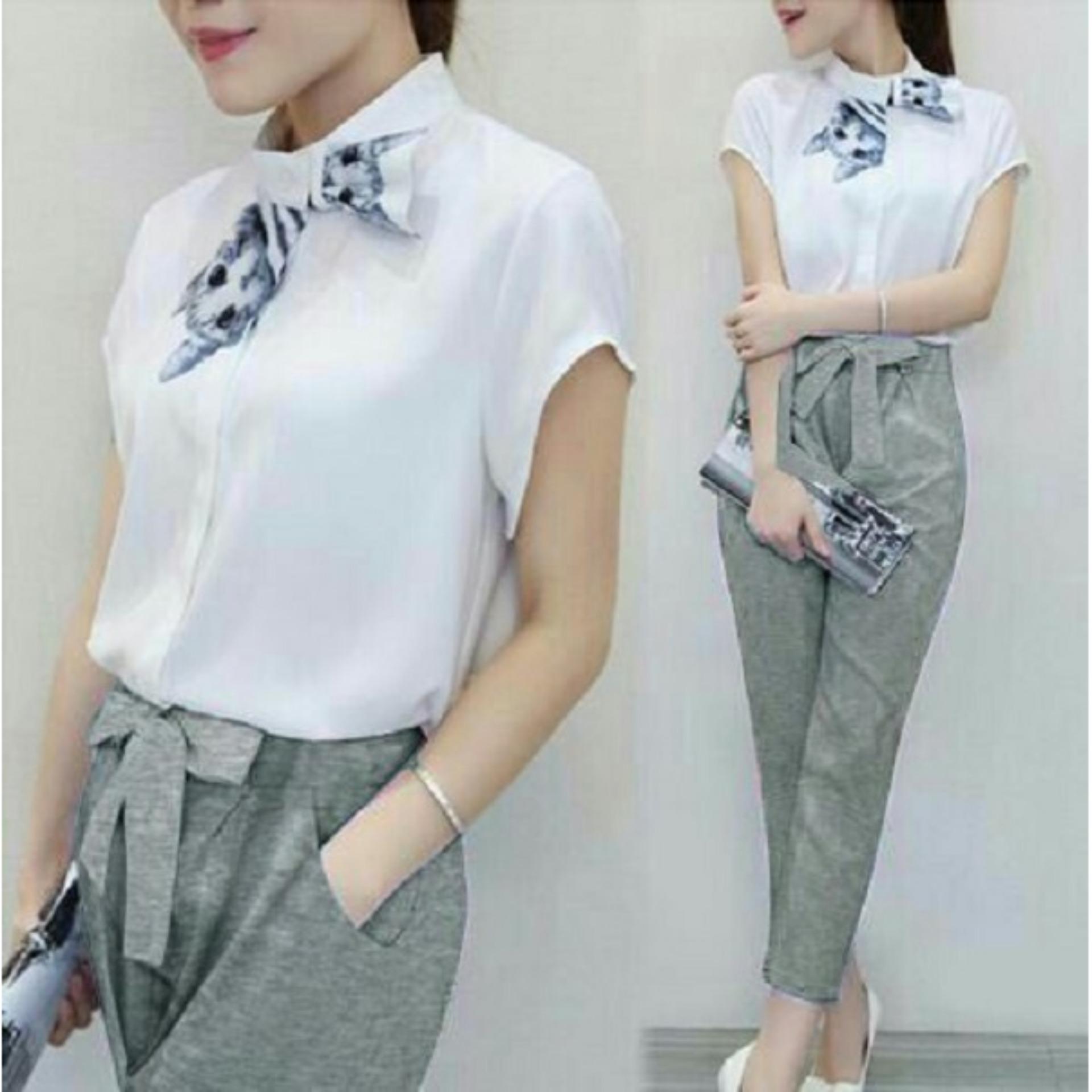T OS Pakaian Wanita Setelan Cattea 2in1 Atasan Dan Celana