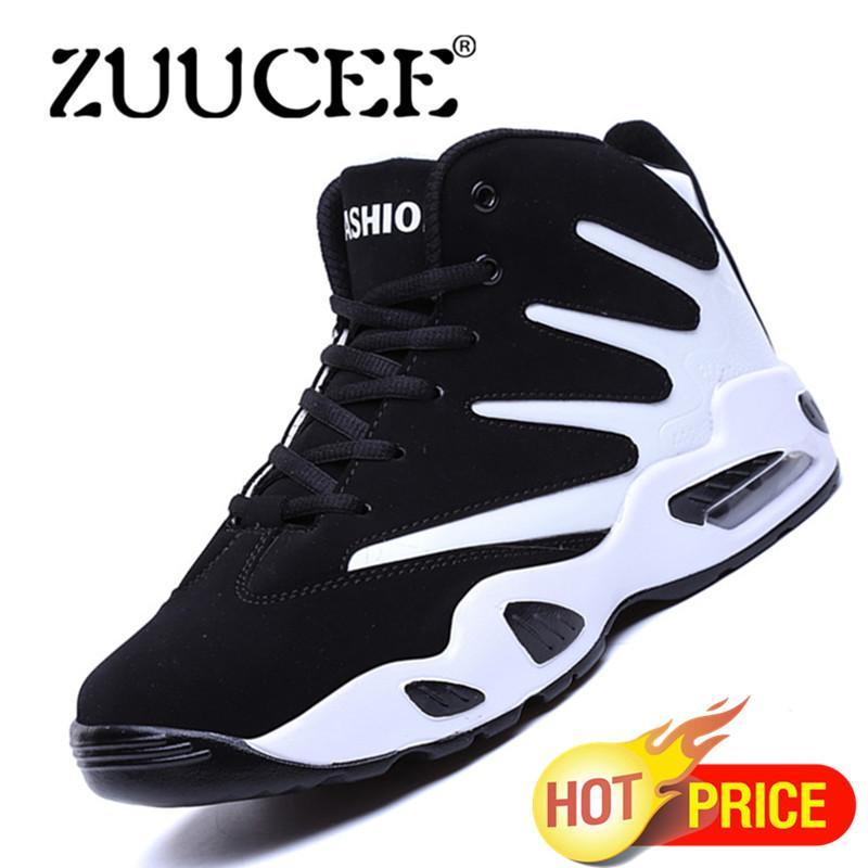 ZUUCEE Pria Musim Dingin Tinggi Top Sepatu Bola Basket Causion Olahraga Sneakers (Putih Hitam)-Intl