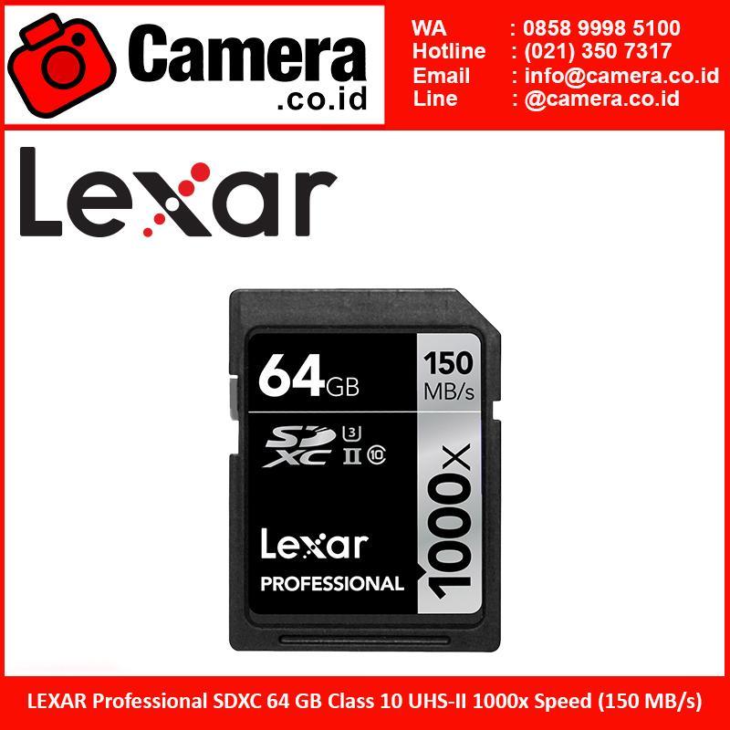 LEXAR Professional SDXC 64GB Class 10 UHS-II 1000x Speed (150 MB/s)