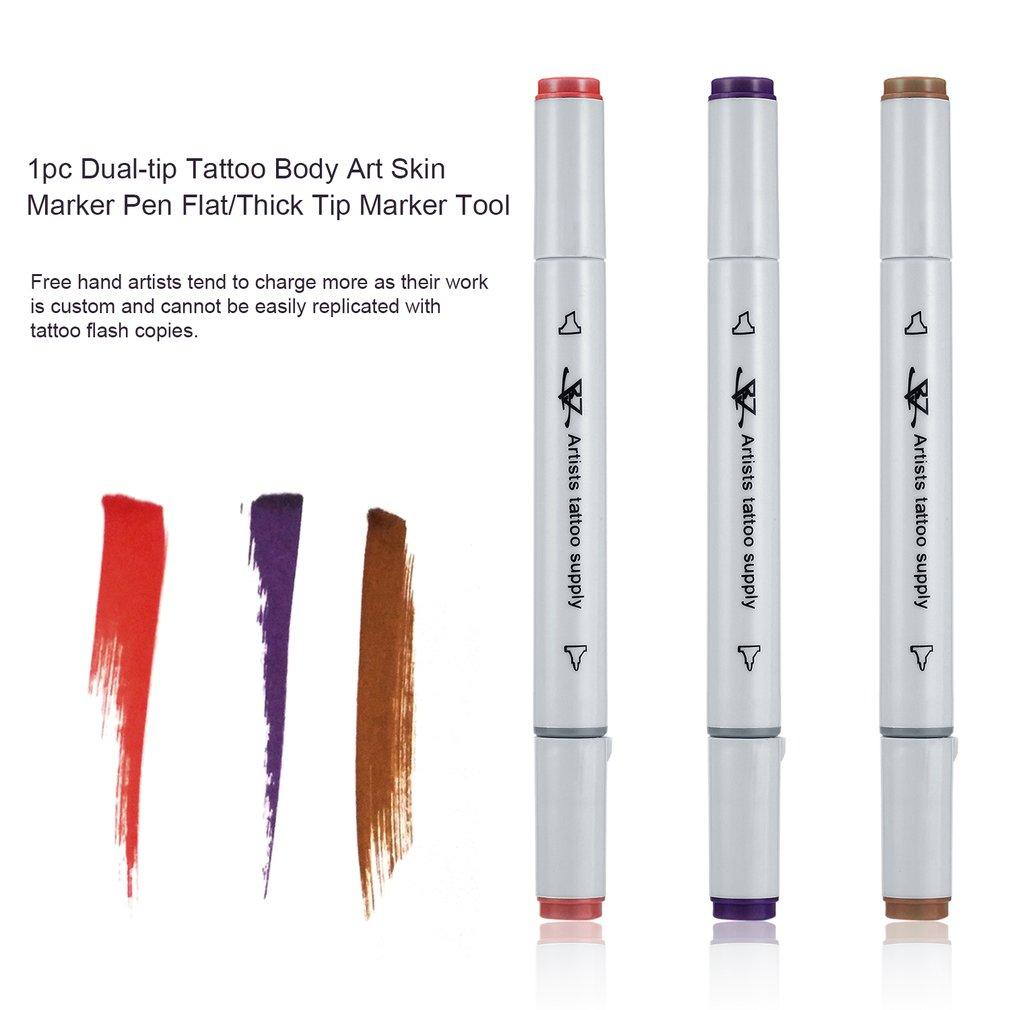 1pc Dual-tip Tattoo Body Art Skin Marker Pen Flat/Thick Tip Marker Tool