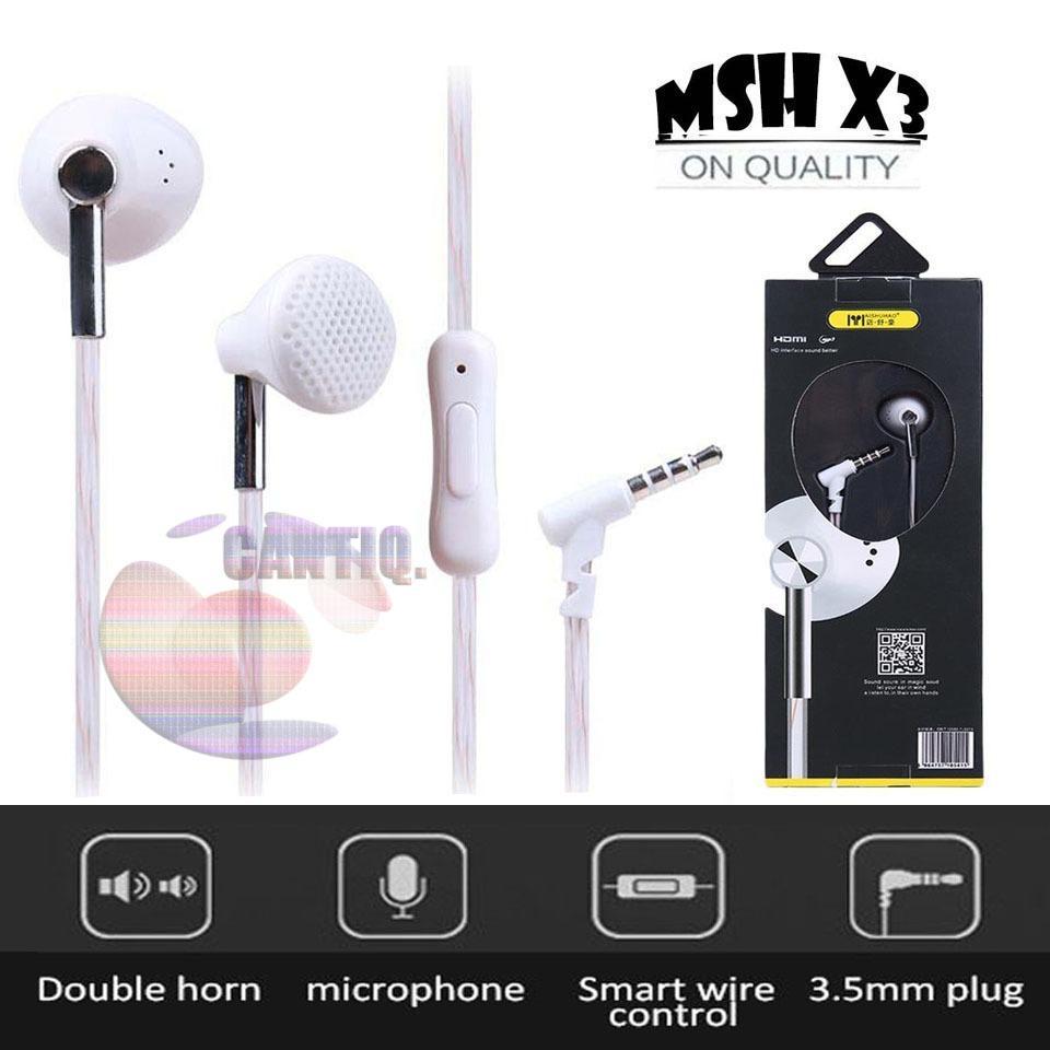 MSH X3 Universal 2 fungsi Earphone untuk Iphone dan Android Handsfree general untuk oppo / earphone for iphone / earphone for samsung / earphone untuk xiaomi / earphone untuk asus / Headset Untuk Macbook Apple - White / Putih