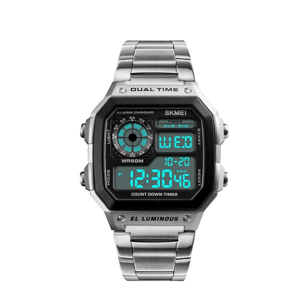Jam Tangan Fashion Pria Digital SKMEI - Stainless Steel with Box SKMEI