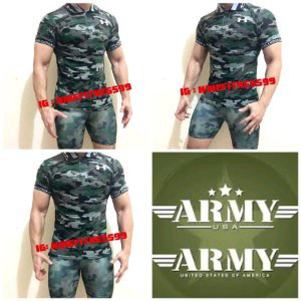 Polo shirt Army pria fitness gym A01