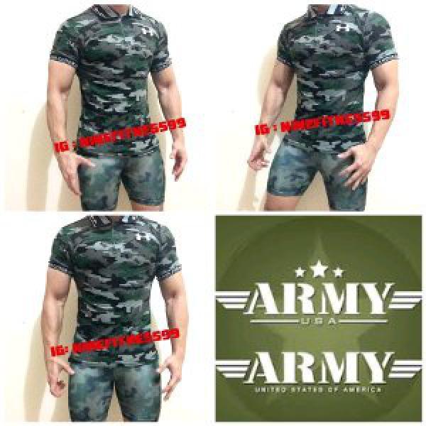 Polo shirt Army pria fitness gym A01