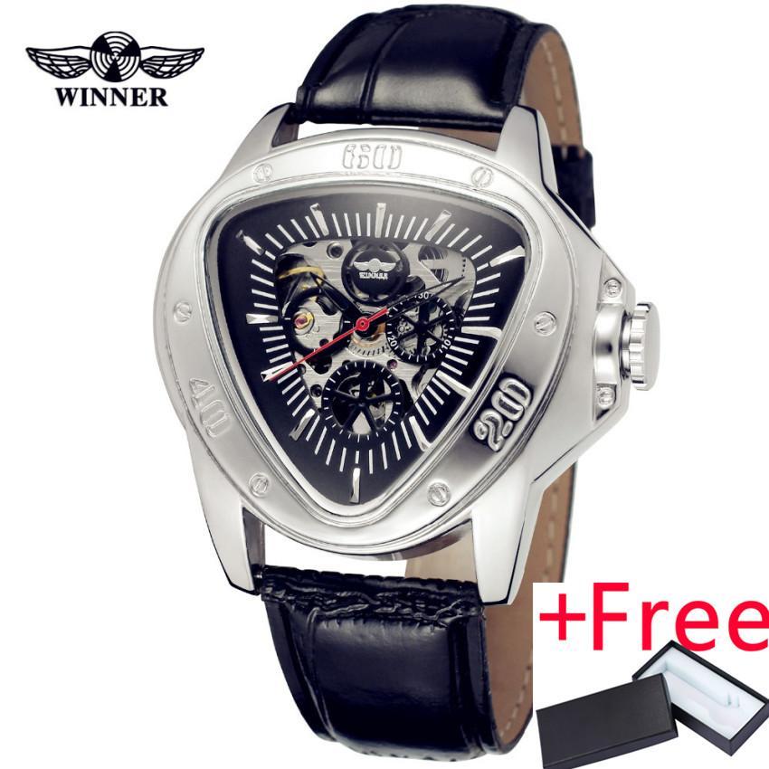 JARAGAR WIN022 Fashion PEMENANG Pria Merek Mewah Segitiga Skeleton Leather Casual Watch Otomatis Arloji Mekanis Kotak