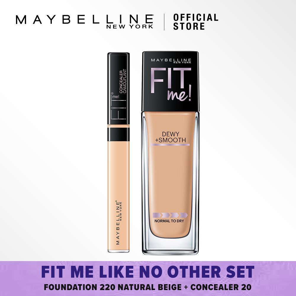 Maybelline Fit Me Like No Other Set : Foundation 220 Natural Beige + Concealer 20 Sand [Foundation Bundle]