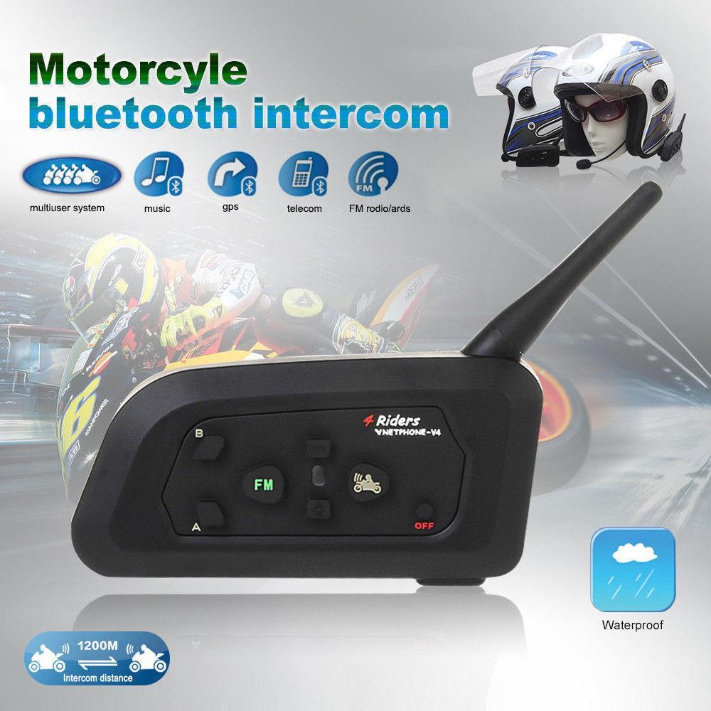 V4-1200 Full-duplex 1200M Bluetooth Motorcycle Helmet Interphone Intercom for 4 Riders -