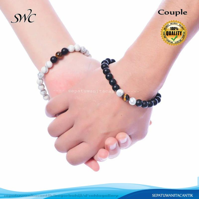 Couple Gelang Batu Black Onyx Pirus Putih dengan Tiger Eye 8mm
