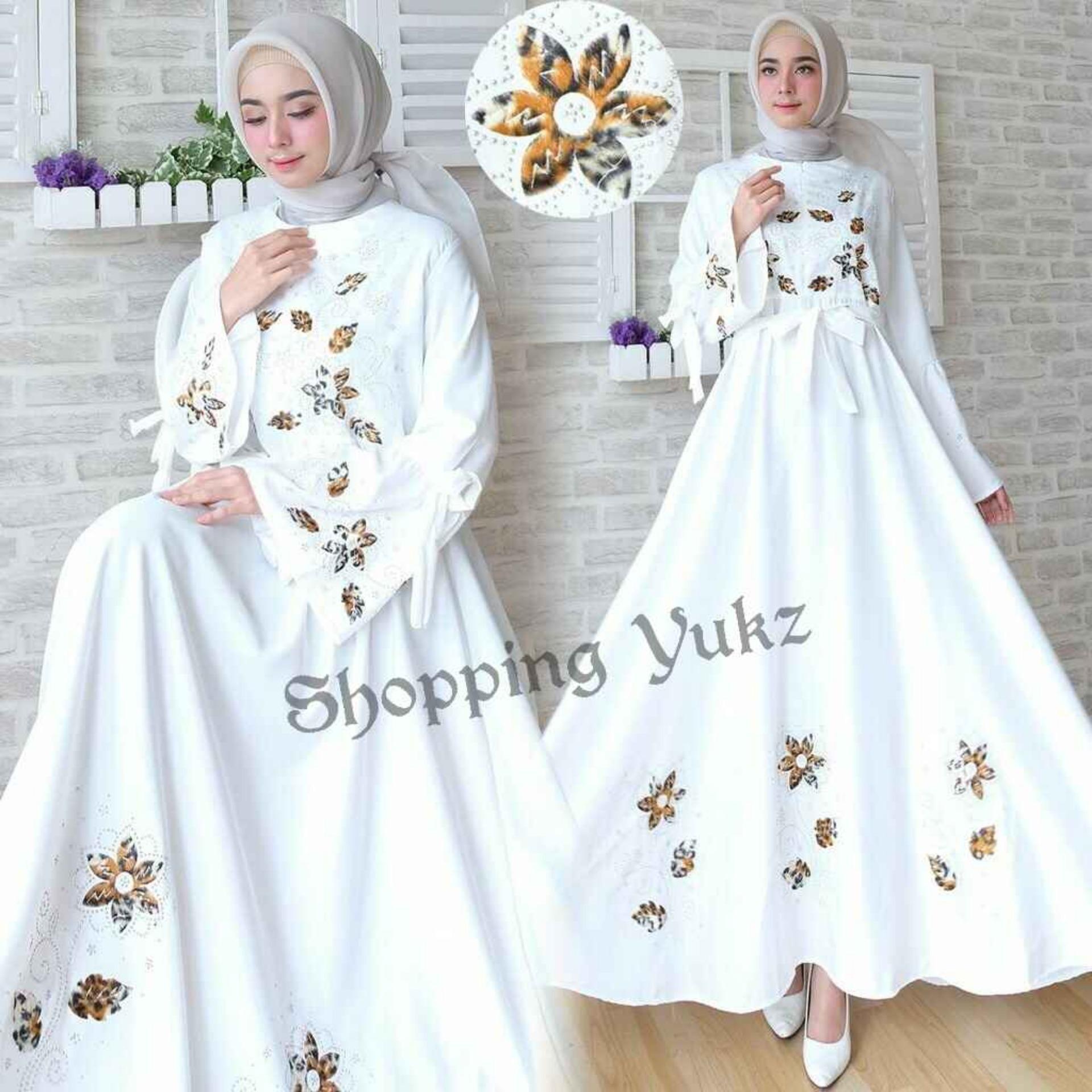 Shopping Yukz Baju Gamis Dress Muslim Syari Wanita MAXI FLOWER PUTIH ( Tanpa Jilbab ) / Hijab Muslimah / Baju Muslimah Wanita / Syari Syari'i Muslim / Gaun Muslim / Long Dress Muslimah Wanita