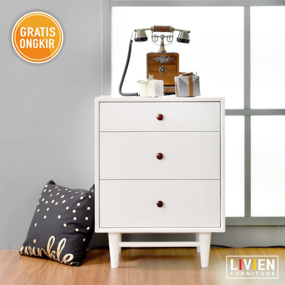 Livien Furniture- Meja Nakas Alody 3 Laci - Meja Nakas - Kabinet