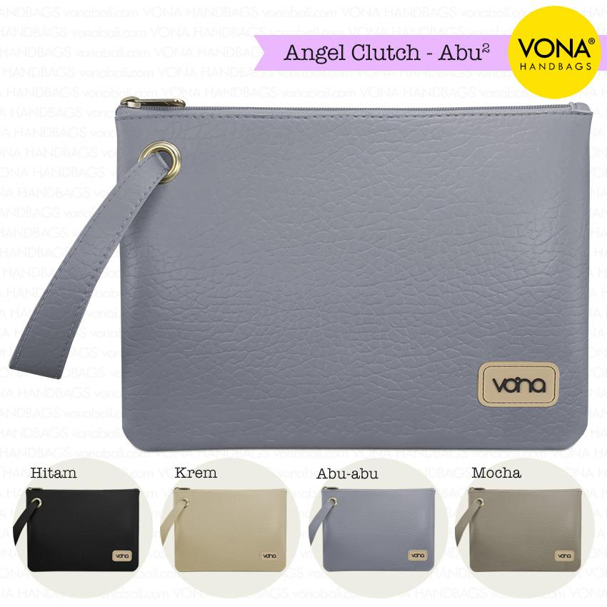 VONA Angel [Abu-abu] - Tas Clutch Wanita Remaja Cewek Kecil Mini Cantik Dompet Pouch HP Branded Original Murah Tali Lebar Korean Style Fashion Bali Kulit Sintetis PU Leather Women Girl Hand Bag Handbag Wristlet Best Seller Bags New Arrival Baru Terlaris