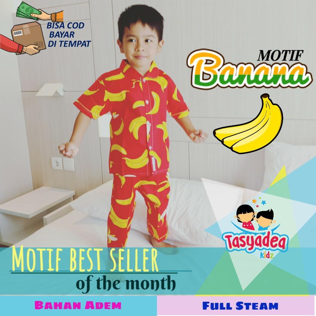 Baju Piyama Anak Motif Ngetrend / Piama / Pajamas Kids / Baju Tidur Anak Cewe Cowo Bajan Katun Motif BANANA Bahan Adem Nyaman Dipakai