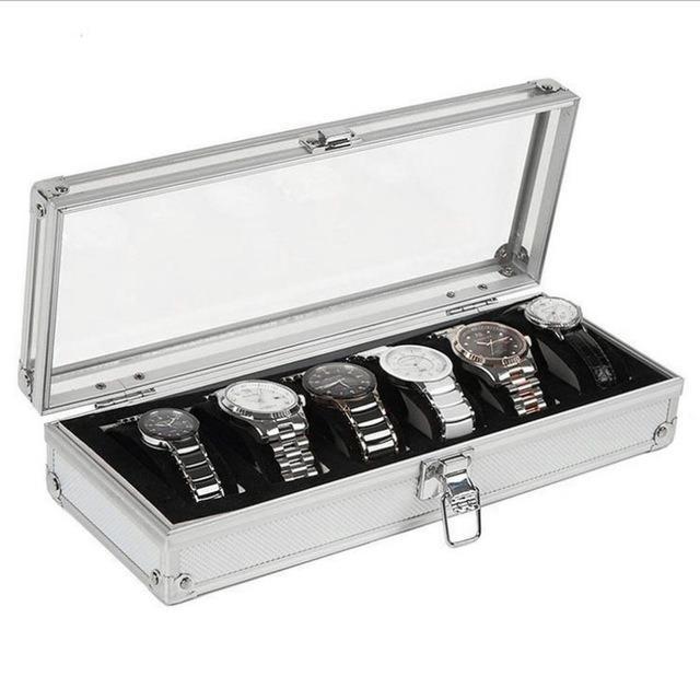 6 Grid Slots Jewelry Watches Display Storage Box Case Aluminium Watch Box - intl