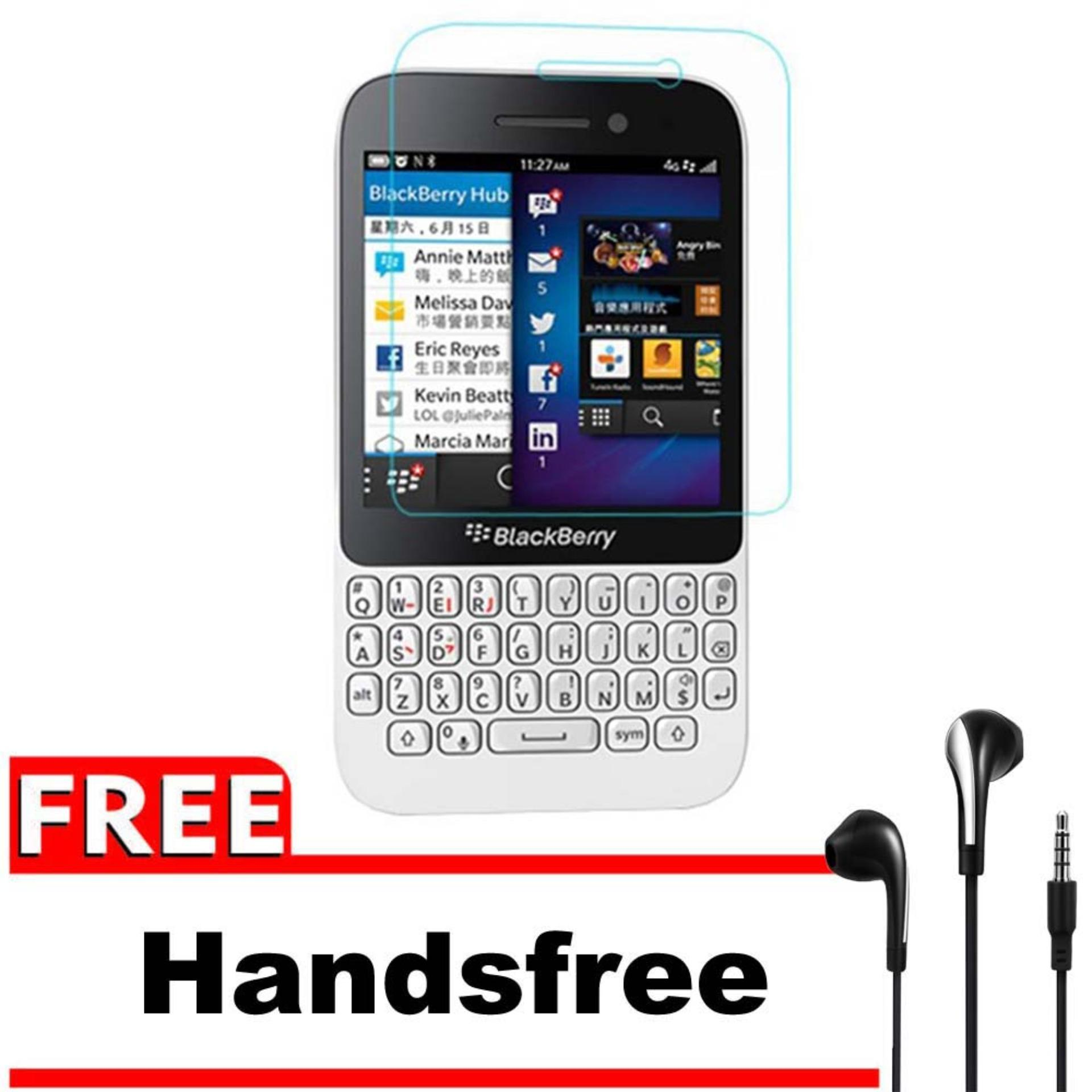 Vn Blackberry BB Q5 Tempered Glass 9H Screen Protector 0.32mm + Gratis Free Handsfree Earphone Headset Universal - Bening Transparan