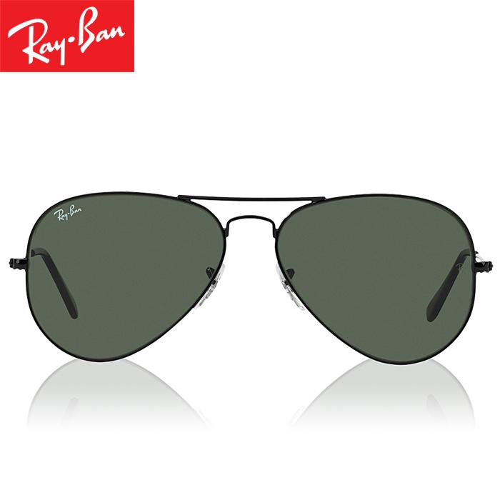 Rayban RB3025 L2823 58-14 Aviator Classic Kacamata Pria Wanita Eye Wear Men Women Sunglasses Black Frame Green Lens