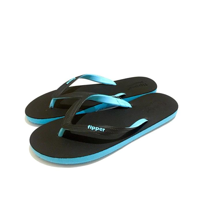 Promo: Sandal Fipper Black Series Black Blue - ready stock