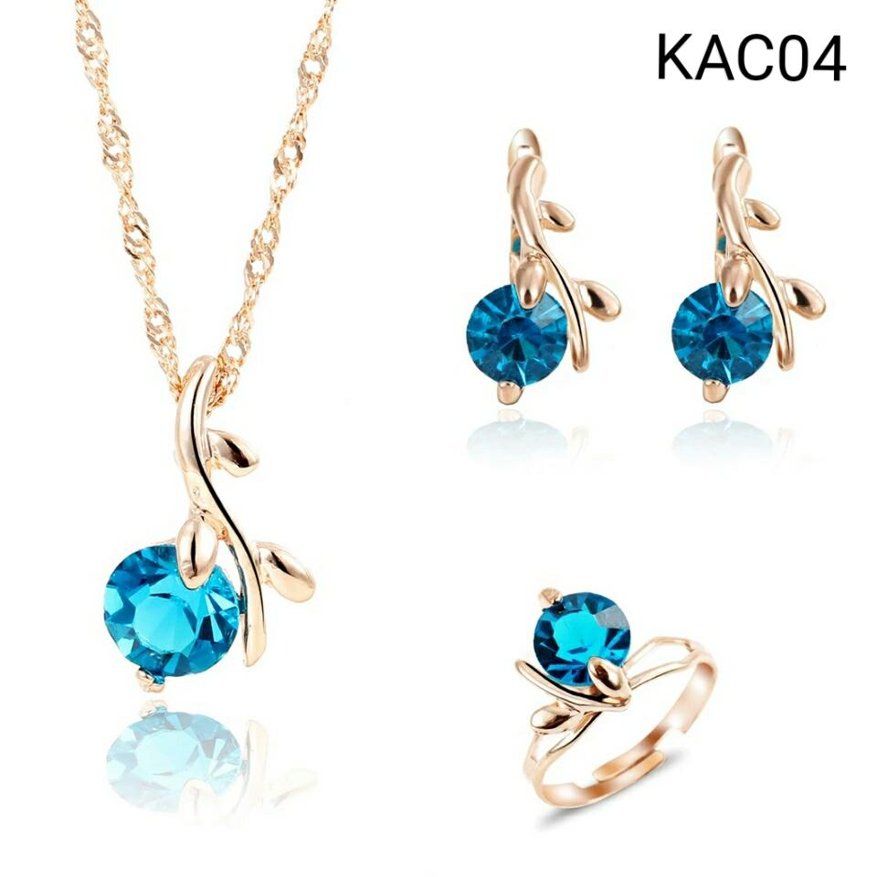Diskon Promo Perhiasan Aksesoris Set Perhiasan Kalung Anting Cincin Rose Gold Batu Biru KAC03 Murah