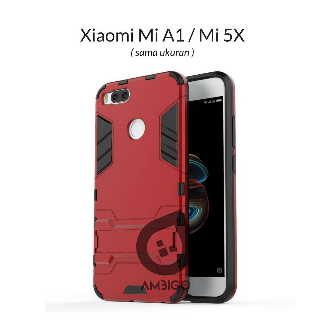 Ambigo Case Xiaomi Mi A1, Mi 5X ( sama ukuran ) Hardcase Ironman Robotic Kickstand