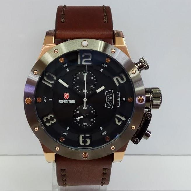 Expedition Jam Tangan Pria Expedition E6381MC Chronograph Rosegold Ring Grey St-Steel Brown Leather Strap