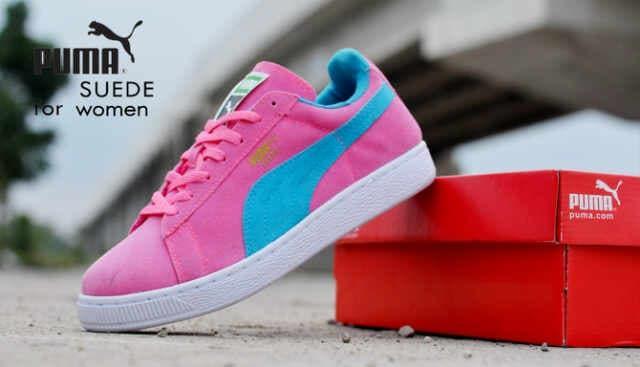 sepatu puma suede for woman pink casual sneakers,murah